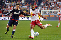 Thierry Henry (14) of the New York Red Bulls plays the ball. CD Chivas USA defeated the New York Red Bulls 3-2 during a Major League Soccer (MLS) match at Red Bull Arena in Harrison, NJ, on May 15, 2011.
