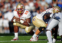 Sept. 19, 2009; Provo, UT, USA; Florida State Seminoles defensive tackle (56) Kendrick Stewart against the BYU Cougars at LaVell Edwards Stadium. Florida State defeated BYU 54-28. Mandatory Credit: Mark J. Rebilas-