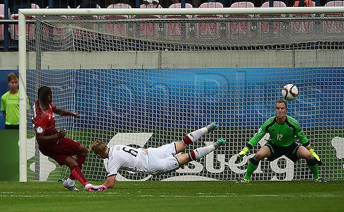 27.06.2015. Andruv Stadium, Olomouc, Czech Republic. U21 European championships, semi-final. Portugal versus Germany.  Ivan Cavaleiro (Portugal) beats Johannes Geis (Germany) and keeper Marc-Andre ter Stegen (Germany)  for 3-0