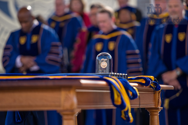 May 18, 2014; The Laetare Medal and honorary degree hoods sit on a table at the 2014 Commencement ceremony. Photo by Matt Cashore/University of Notre Dame