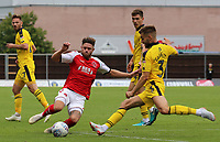 Fleetwood Town's Wes Burns battles with Oxford United's Luke Garbutt<br /> <br /> Photographer David Shipman/CameraSport<br /> <br /> The EFL Sky Bet League One - Oxford United v Fleetwood Town - Saturday August 11th 2018 - Kassam Stadium - Oxford<br /> <br /> World Copyright &copy; 2018 CameraSport. All rights reserved. 43 Linden Ave. Countesthorpe. Leicester. England. LE8 5PG - Tel: +44 (0) 116 277 4147 - admin@camerasport.com - www.camerasport.com