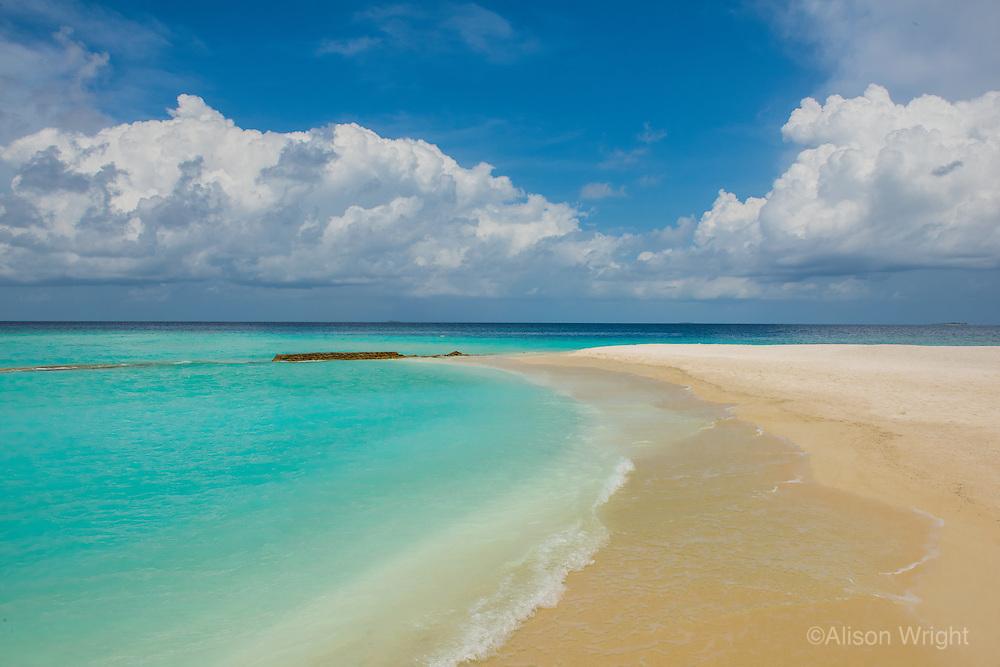 Maldives, Rangali Island. Conrad Hilton Resort. White sand beach and ocean.