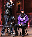 Nik Walker and Tyler McKenzie during the #EduHam Q & A at the Richard Rodgers Theatre on November 15, 2017 in New York City.