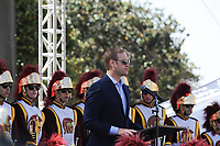 Justin Dearborn, chief executive of Tronc Inc., The Times' parent company, kicks off the event at the Los Angeles Times Festival of Books held at USC in Los Angeles, California on Saturday, April 22, 2017