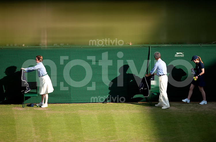Linesmen on Centre Court. The Wimbledon Championships 2010 The All England Lawn Tennis & Croquet Club  Day 3 Wednesday 23/06/2010