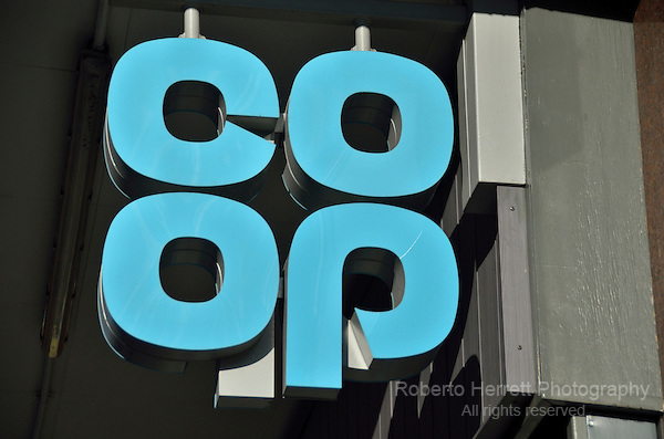 Coop logo outside a supermarket, London, UK.