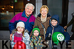 Chloe Passway, John Enright, Dylan Passway, Eileen Enright. Luke Passway, Derrymore, Tralee, enjoying the Tralee Christmas Parade on Saturday.
