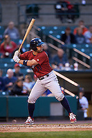 Lehigh Valley IronPigs first baseman Russ Canzler (19) at bat during a game against the Rochester Red Wings on May 15, 2015 at Frontier Field in Rochester, New York.  Rochester defeated Lehigh Valley 5-4.  (Mike Janes/Four Seam Images)