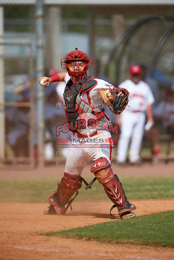 Canada Junior National Team catcher Russell Young (37) throws to first base for the out during an exhibition game against the Philadelphia Phillies on March 11, 2020 at Baseball City in St. Petersburg, Florida.  (Mike Janes/Four Seam Images)