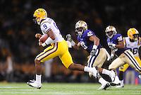 Sept. 5, 2009; Seattle, WA, USA; LSU Tigers quarterback (9) Jordan Jefferson against the Washington Huskies at Husky Stadium. LSU defeated Washington 31-23. Mandatory Credit: Mark J. Rebilas-