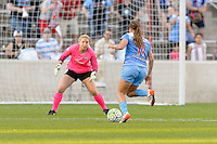 Bridgeview, IL, USA - Sunday, May 29, 2016: Chicago Red Stars forward Sofia Huerta (11) and Sky Blue FC goalkeeper Caroline Stanley (18) during a regular season National Women's Soccer League match between the Chicago Red Stars and Sky Blue FC at Toyota Park. The game ended in a 1-1 tie.