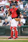 April 24, 2009:  Catcher Jeff Christy (23) of the Rochester Red Wings, International League Class-AAA affiliate of the Minnesota Twins, during a game at the Frontier Field in Rochester, NY.  Photo by:  Mike Janes/Four Seam Images