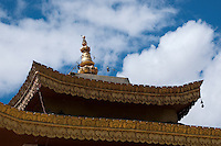 Detail of the roof of the Chowkhang monastery at Leh, Ladakh