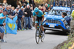 Jakob Fuglsang (DEN) Astana Pro Team solos to victory on the climb to Recanati at the end of Stage 5 of the Race of the Two Seas, the 54th Tirreno-Adriatico 2019, running 180km from Colli al Matauro to Recanati, Italy. 17th March 2019.<br /> Picture: LaPresse/Fabio Ferrari | Cyclefile<br /> <br /> <br /> All photos usage must carry mandatory copyright credit (© Cyclefile | LaPresse/Fabio Ferrari)