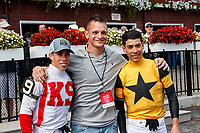 Irad Ortiz is honored as he wins the Angel Cordero riding title for the 2018 Saratoga meet.  His brother Jose joined in the celebration.  (Bruce Dudek/Eclipse Sportswire)