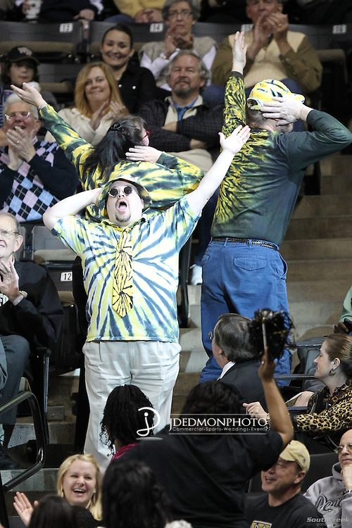 """The """"Dirty Deac""""  dances during a break in the action against the Yellow Jackets. Georgia Tech wins 80-54."""