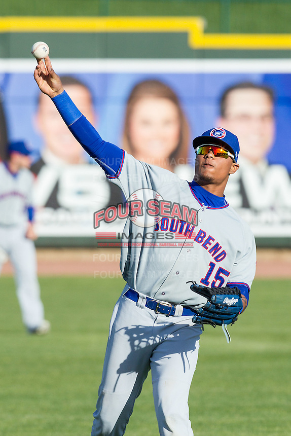 South Bend Cubs outfielder Eddy Martinez (15) warms up before the game against the Great Lakes Loons on May 18, 2016 at Dow Diamond in Midland, Michigan. Great Lakes defeated South Bend 5-4. (Andrew Woolley/Four Seam Images)