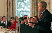 Washington, DC - February 25, 2008 -- United States President George W. Bush addresses the National Governors Association in the State Dining Room of the White House in Washington, DC on Monday, February 25, 2008.<br /> Credit: Dennis Brack - Pool via CNP