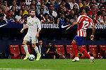Renan Lodi of Atletico de Madrid and Dani Carvajal of Real Madrid during La Liga match between Atletico de Madrid and Real Madrid at Wanda Metropolitano Stadium in Madrid, Spain. September 28, 2019. (ALTERPHOTOS/A. Perez Meca)