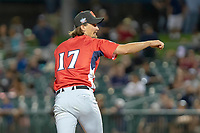 Tommy Eveld (17) of the Visalia Rawhide follows through on his delivery against the South Division during the 2018 California League All-Star Game at The Hangar on June 19, 2018 in Lancaster, California. The North All-Stars defeated the South All-Stars 8-1.  (Donn Parris/Four Seam Images)