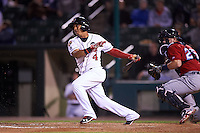 Rochester Red Wings shortstop Wilfredo Tovar (4) at bat during a game against the Columbus Clippers on June 14, 2016 at Frontier Field in Rochester, New York.  Rochester defeated Columbus 1-0.  (Mike Janes/Four Seam Images)