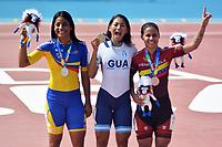 BARRANQUILLA - COLOMBIA, 21-07-2018: Kerstinkc Sarmiento (COL), Soberanis marenco (GUA), (Medalla de Oro) y Yarubi Bandres (VEN) durante su participación en la categoría de patinaje de Velocidad como parte de los Juegos Centroamericanos y del Caribe Barranquilla 2018. /  Kerstinkc Sarmiento (COL), Soberanis Marenco (GUA), (Gold Medal) and Yarubi Bandres (VEN) during his participation in the speed skatingcategory of the Central American and Caribbean Sports Games Barranquilla 2018. Photo: VizzorImage / Alfonso Cervantes / Cont