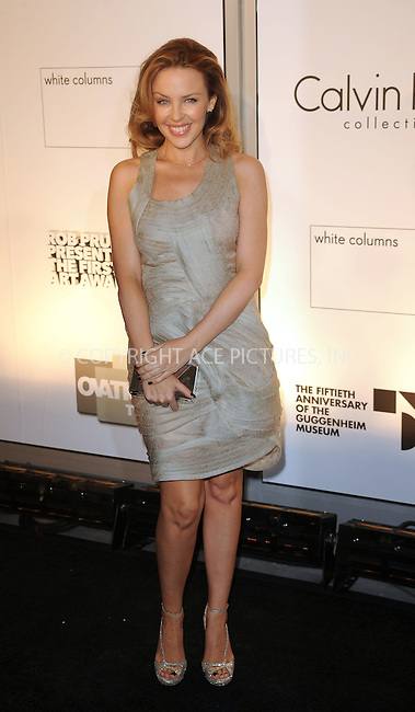 WWW.ACEPIXS.COM . . . . . ....October 29 2009, New York city....Singer Kylie Minogue arriving at the 1st Annual Guggenheim Art Awards at the Solomon R. Guggenheim Museum on October 29, 2009 in New York City.....Please byline: KRISTIN CALLAHAN - ACEPIXS.COM.. . . . . . ..Ace Pictures, Inc:  ..tel: (212) 243 8787 or (646) 769 0430..e-mail: info@acepixs.com..web: http://www.acepixs.com