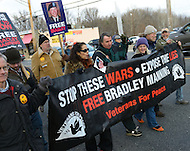 December 17, 2011  (Fort Meade, MD)  Protesters marched outside the Fort Meade military installation in Maryland to show support for Bradley Manning.  Manning was at Ft. Meade for his Army Article 32 hearing for allegedly leaking classified intelligence information to the website WikiLeaks. (Photo by Don Baxter/Media Images International)