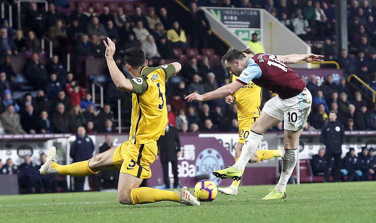 Burnley's Ashley Barnes has his close range effort charged down by Brighton & Hove Albion's Gaetan Bong<br /> <br /> Photographer Rich Linley/CameraSport<br /> <br /> The Premier League - Burnley v Brighton and Hove Albion - Saturday 8th December 2018 - Turf Moor - Burnley<br /> <br /> World Copyright © 2018 CameraSport. All rights reserved. 43 Linden Ave. Countesthorpe. Leicester. England. LE8 5PG - Tel: +44 (0) 116 277 4147 - admin@camerasport.com - www.camerasport.com
