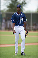 San Diego Padres pitcher Henry Henry (28) walks off the field between innings of an Instructional League game against the Chicago White Sox on September 26, 2017 at Camelback Ranch in Glendale, Arizona. (Zachary Lucy/Four Seam Images)