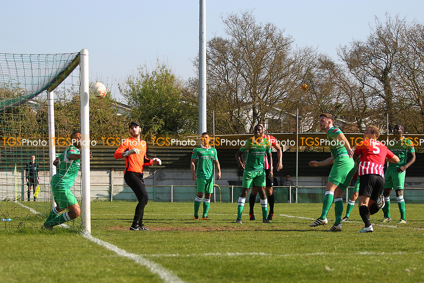 Elliot Styles shaves the post with a header during Waltham Abbey vs AFC Hornchurch, Ryman League Division 1 North Football at Capershotts on 8th April 2017