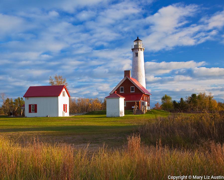 Tawas Point State Park, MI:  Tawas Point Light (1853) on Tawas Point, Lake Huron - Iosco County