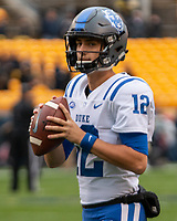 Duke quarterback Gunnar Holmberg. The Pitt Panthers football team defeated the Duke Blue Devils 54-45 on November 10, 2018 at Heinz Field, Pittsburgh, Pennsylvania.