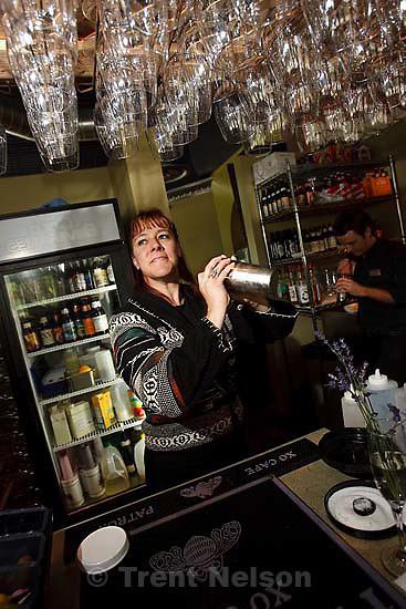 Salt Lake City - Stephenie Bailey-Hatfield mixing custom drinks at Wild Grape .. Thursday, June 25, 2009.