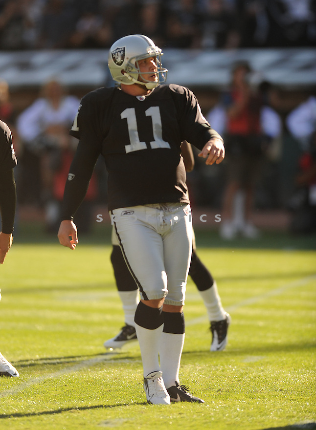 SEBASTIAN JANIKOWSKI, of the Oakland Raiders, in action during the Raiders game against the New Orleans Saints on August 28, 2011 at O.co Coliseum in Oakland, CA. The Saints beat the Raiders 40-20.