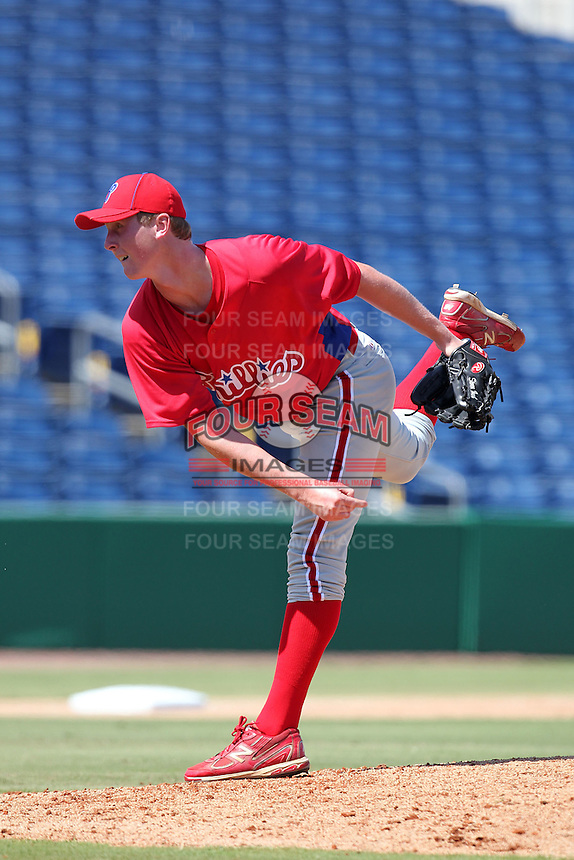 Philadelphia Phillies pitcher Steven Inch #45 during an Instructional League game against the Detroit Tigers at Brighthouse Field on October 5, 2011 in Clearwater, Florida.  (Mike Janes/Four Seam Images)