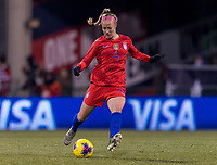 COLUMBUS, OH - NOVEMBER 07: Becky Sauerbrunn #4 of the United States crosses the ball during a game between Sweden and USWNT at Mapfre Stadium on November 07, 2019 in Columbus, Ohio.