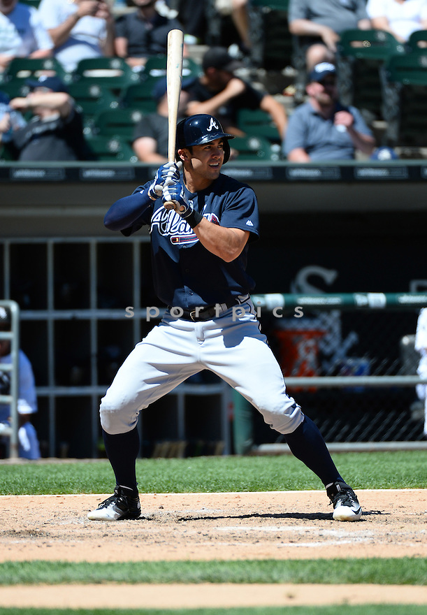 Atlanta Braves Chase D'Arnaud (23) during a game against the Chicago White Sox on July 9, 2016 at US Cellular Field in Chicago, IL. The White Sox beat the Braves 5-4.