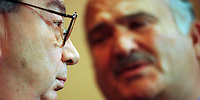 Former Russian Secretary of State Yevgeni Primakov and the brother of former King Hussein, Prince Hassan of Jordan in close talks, Germany 1998