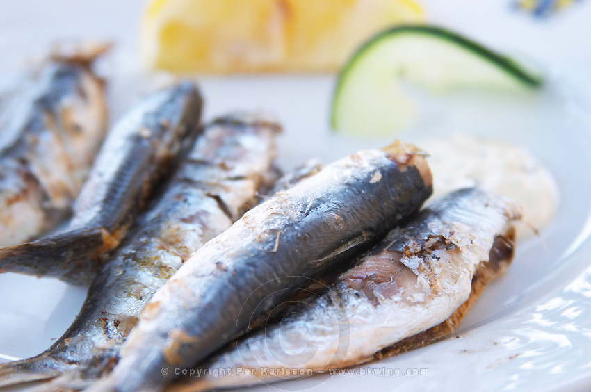 Grilled sardines on a plate. Hotel and restaurant Kompas. Uvala Sumartin bay between Babin Kuk and Lapad peninsulas. Dubrovnik, new city. Dalmatian Coast, Croatia, Europe.