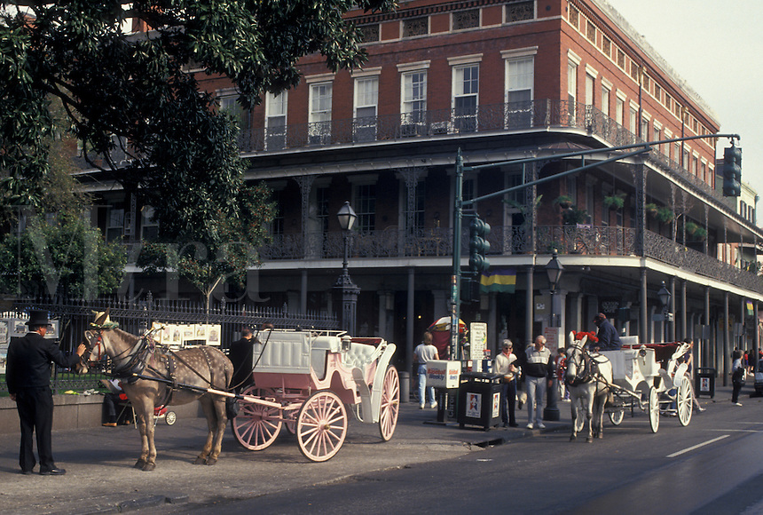 carriage ride, New Orleans, French Quarter, Louisiana, LA, Carriage rides on Decatur Street in the French Quarter of New Orleans.