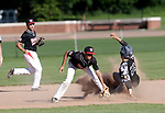 Watertown, CT- 26 June 2017-062617CM03- Oakville's   Grant Wallace slide safely into second, as Xavier Frias can't make the tag in time during their American Legion matchup against Oakville on Monday.    Christopher Massa Republican-American