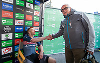 Picture by Allan McKenzie/SWpix.com - 17/05/2018 - Cycling - OVO Energy Tour Series Mens Race Round 3:Aberdeen - Mick Bennett congratulates Ed Clancy on victory.