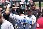 26 June 2011                Toronto Blue Jays catcher J.P. Arencibia (9) is congratulated by teammates in the dugout after hitting a solo home run in the second inning. The Toronto Blue Jays defeated the St. Louis Cardinals 5-0 in the final game of a three-game inter-league series on Sunday June 26, 2011 at Busch Stadium in downtown St. Louis.