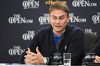 Johnnie Cole-Hamilton, Executive Director-Championships answers questions during a morning press conference during the preview of the the 148th Open Championship, Royal Portrush golf club, Portrush, Antrim, Northern Ireland. 7/17/2019.<br /> Picture Ken Murray / Golffile.ie<br /> <br /> All photo usage must carry mandatory copyright credit (© Golffile | Ken Murray)