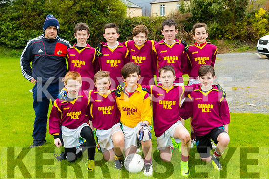 Allianz Cumann na mBunscol  Schools Mini Sevens County finals at Caherslee GAA Ground  on Monday Duagh NS Front l-r Mike Galvin, Darragh O'Keeffe, Brodie Stack, Cormac Dillon, Jack O'Sullivan, Back Coach Karol Dillon, John Daly, Eli Fitzgerald  (captain), Fearghal Cudlipp, Jack O'Keeffe, Jack Moloney