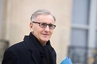 ANDRE VALLINI , SECRETAIRE D ETAT QUITTE LE PALAIS DE L'ELYSEE APRES LE CONSEIL DES MINISTRES DU 11 JANVIER 2017 A PARIS.