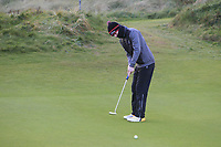 Cian Harkin (Letterkenny) on the 17th green during Round 2 of the Ulster Boys Championship at Portrush Golf Club, Portrush, Co. Antrim on the Valley course on Wednesday 31st Oct 2018.<br /> Picture:  Thos Caffrey / www.golffile.ie<br /> <br /> All photo usage must carry mandatory copyright credit (&copy; Golffile | Thos Caffrey)