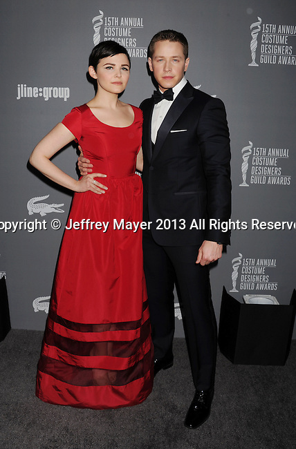 BEVERLY HILLS, CA - FEBRUARY 19: Ginnifer Goodwin and Josh Dallas arrive at the 15th Annual Costume Designers Guild Awards at The Beverly Hilton Hotel on February 19, 2013 in Beverly Hills, California.