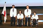 (L-R)  Kunio Nakamori,  Kuniko Obinata,  Satoru Sudo,  Momoka Muraoka (JPN),  February 26, 2018 :  Japan National Team Press Conference   for PyeongChang 2018 Paralympics Winter Games   in Tokyo, Japan.  (Photo by Sho Tamura/AFLO SPORT)